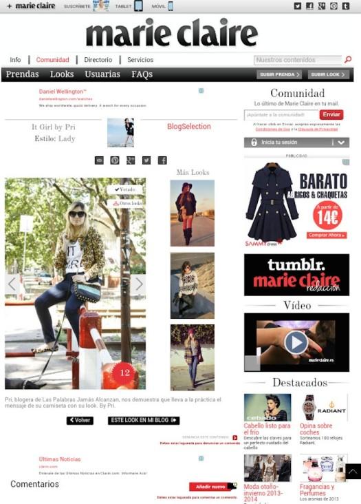 Blogger seleccionada por la Revista Marie Claire, Noviembre 2013
