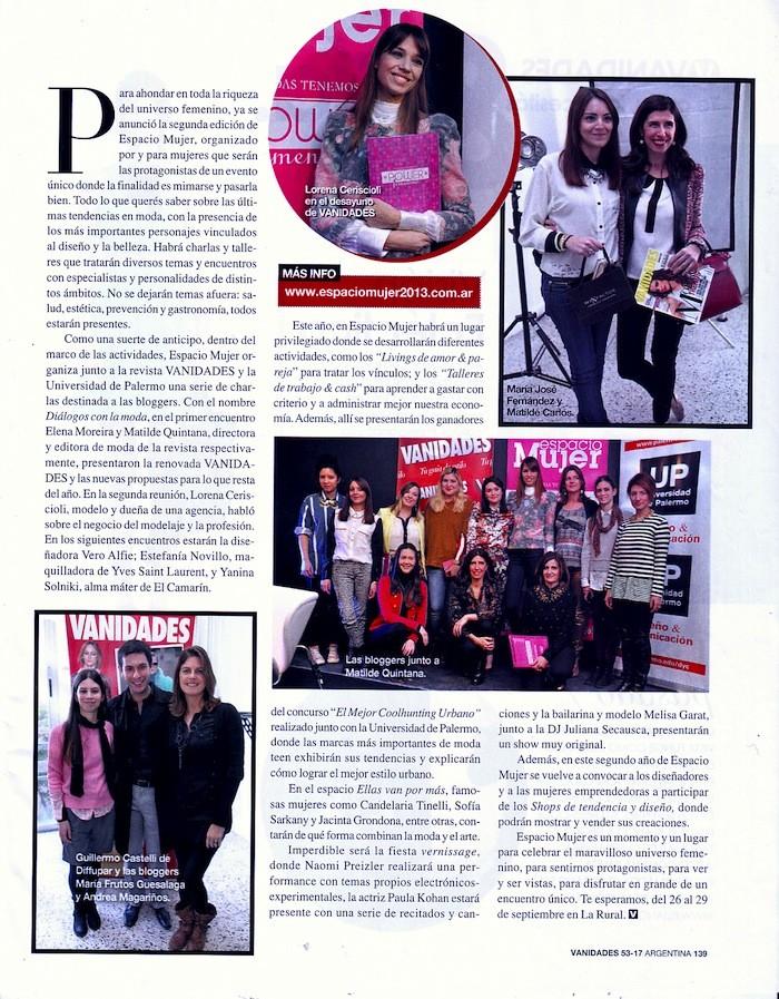 Nota en Revista Vanidades, Agosto 2013.