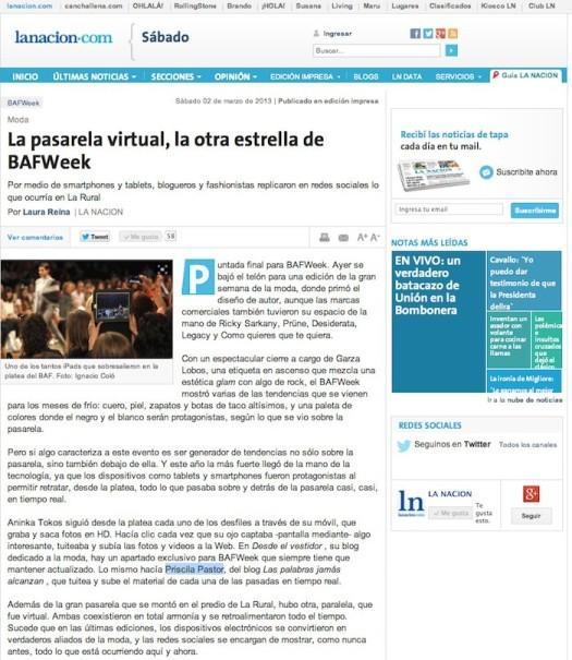 Entrevista en el Diario La Nación, edición impresa y on line. http://www.lanacion.com.ar/1559303-la-pasarela-virtual-la-otra-estrella-de-bafweek